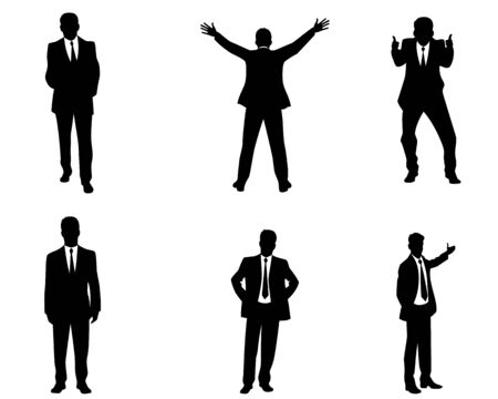 businessman suit: Vector illustration of a six businessmen silhouettes