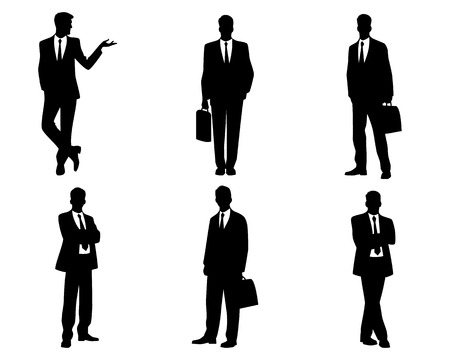 Vector illustratie van een zes zakenlieden silhouetten Stock Illustratie