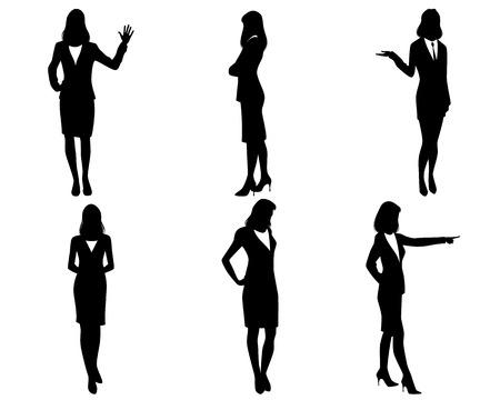 black business woman: Vector illustration of a six businesswomen silhouettes Illustration