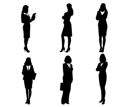 Vector illustratie van een zes ondernemers silhouetten Stock Illustratie