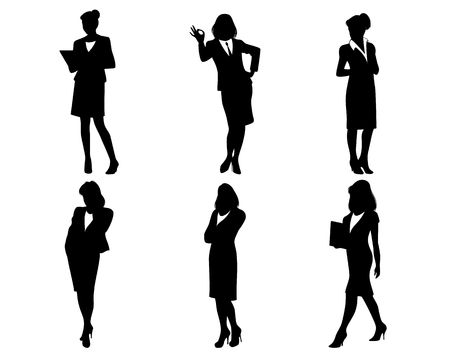 six point: Vector illustration of a businesswomen silhouettes on white Illustration