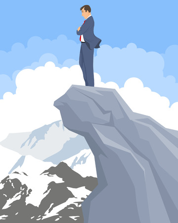hill distant: illustration of a businessman on a peak
