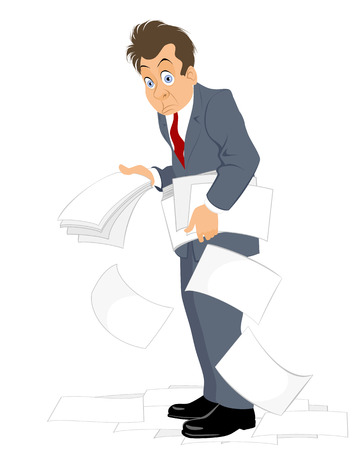 Vector illustration of a businessmen with heap of documents