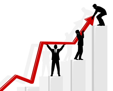 Vector illustration of a three businessmen holding graph