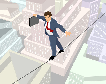 tightrope walker: Vector illustration of a businessman a rope