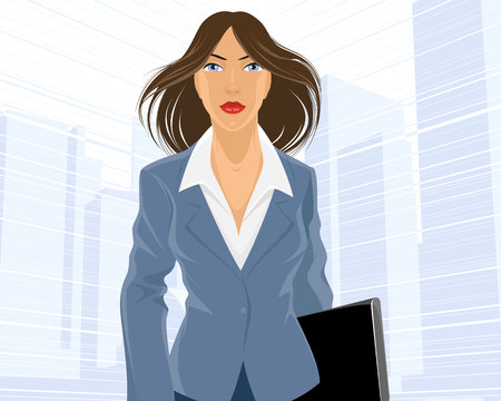 purposeful: Vector illustration of a businesswoman going with folder Illustration