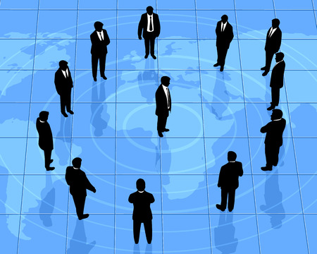 partners: Vector illustration of a global partners silhouettes