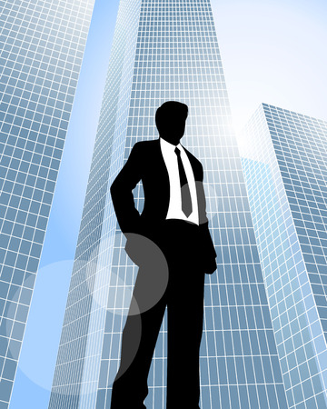 man looking at sky: Vector illustration of a businessman standing at skyscrapers background