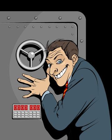 Vector illustratie van een bankier met een veilige Stock Illustratie