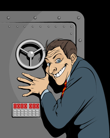 Vector illustration of a banker with safe