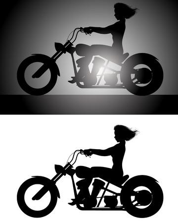 motorrad frau: Vector Illustration eines M�dchen auf Fahrrad-Silhouette