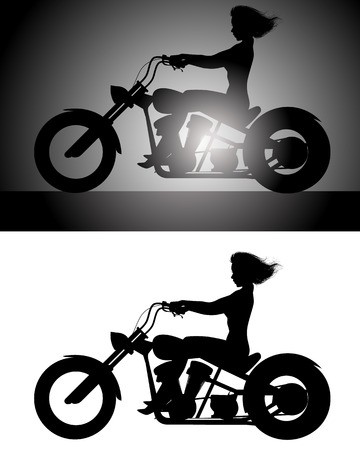 riders: Vector illustration of a girl on bike silhouette