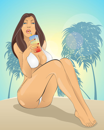 sexy girls: Vector illustration of a girl in bikini on the beach Illustration