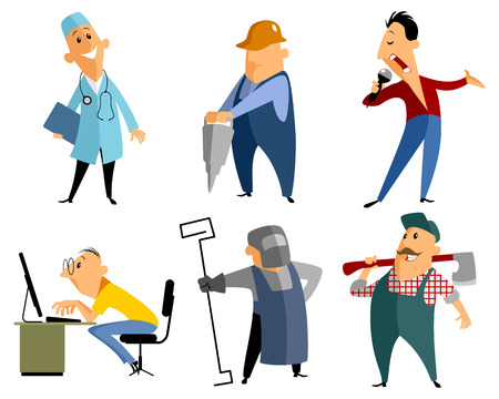 doctor tablet: Vector illustration of a six profession people Illustration