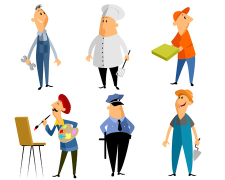 truncheon: Vector illustration of a six profession people Illustration