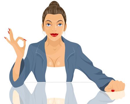 okey: Vector illustration of a businesswoman okey gesturing Illustration