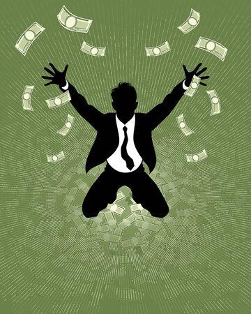 lucky man: Vector illustration of a lucky businessman silhouette