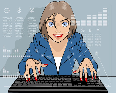 stock quotes: Vector illustration of a broker trading on the stock exchange
