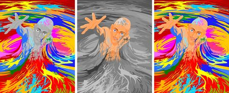 escapes: Vector illustration of a man escapes from the gray mass