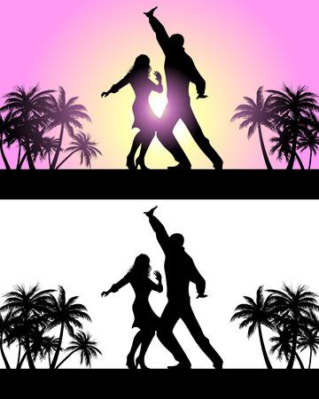 ラテンの踊りを踊るカップルのベクトル イラスト  イラスト・ベクター素材