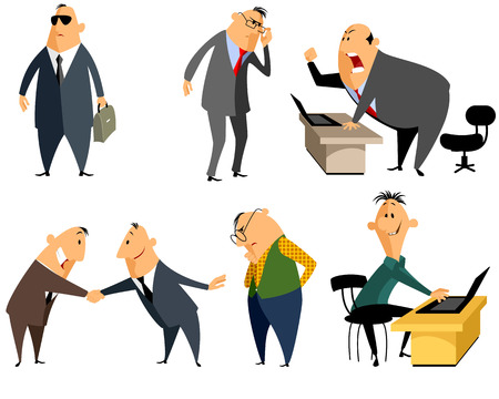 personas enojadas: Ilustración vectorial de una a seis personas profesión Vectores