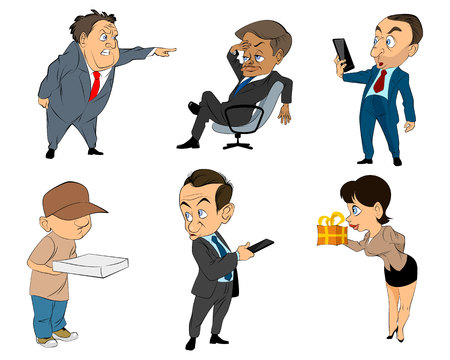 subordinate: Vector illustration of a six profession people Illustration