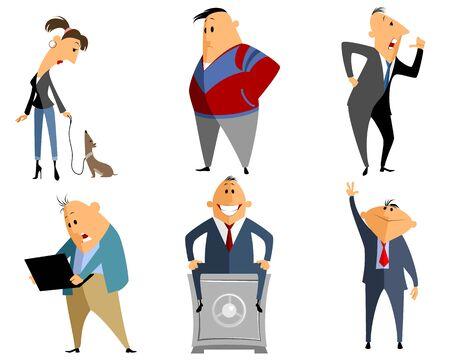 empleado de oficina: Ilustraci�n vectorial de un seis diferentes personas Vectores