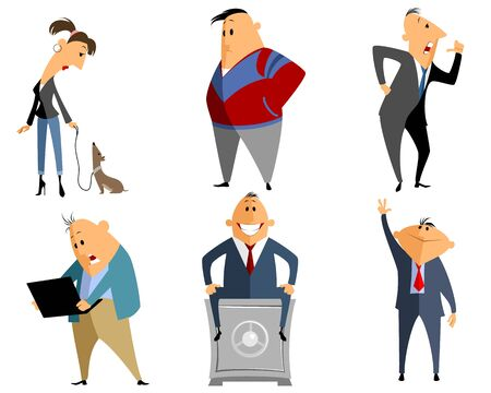 working in office: Vector illustration of a six different people Illustration