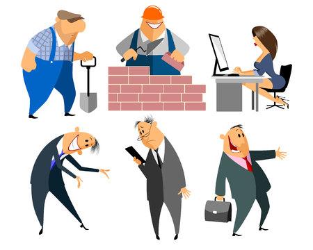 obrero caricatura: Ilustraci�n vectorial de una a seis personas profesi�n Vectores