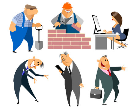 office manager: Vector illustration of a six profession people Illustration