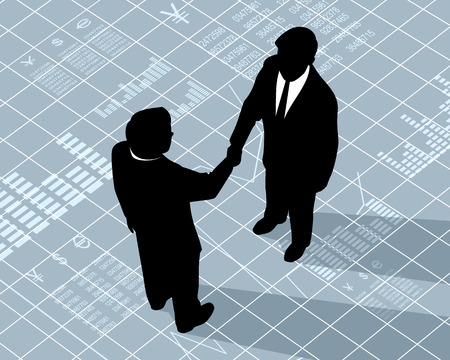 handshake: Ilustraci�n vectorial de un dos hombres de negocios apret�n de manos