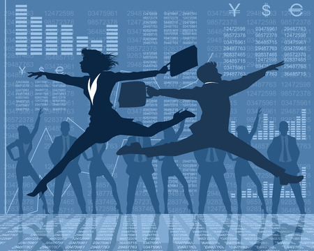 leaping: Vector illustration of a dancing businessmen silhouettes