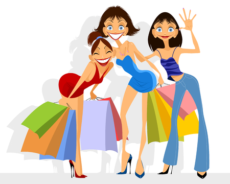 girlfriend: Vector illustration of a three girls shopping