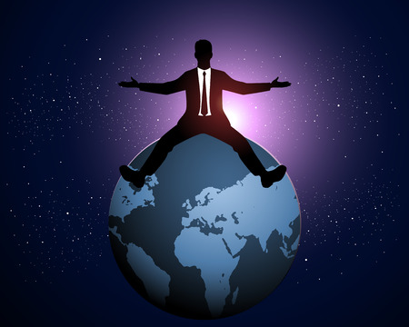 Vector illustration of a businessman with arms outstretched