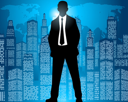 night suit: Vector illustration of a businessman on city background