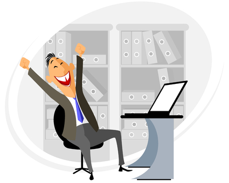 Vector illustration of a manager at workplace