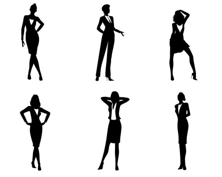 standing: Vector illustration of a six businesswomen silhouettes Illustration