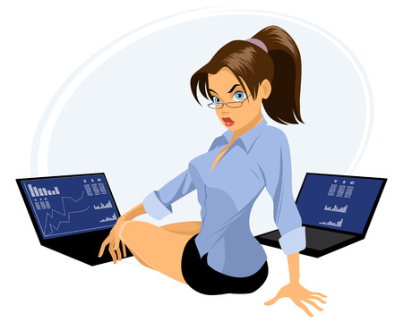 woman laptop: Vector illustration of a broker with two laptops