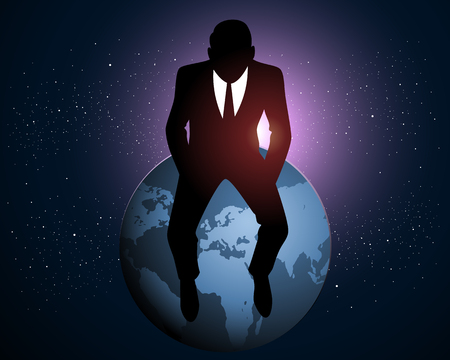 dominate: Vector illustration of a businessman sitting on a Earth