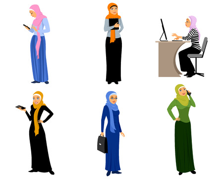 personas de pie: Ilustración vectorial de un seis modernas niñas musulmanas Vectores