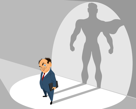 Vector illustration of old businessman and him silhouette