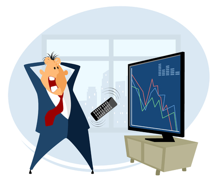 stock trading: Vector illustration of a broker trading on the stock exchange