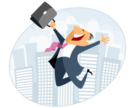 joyful: Vector illustration of businessman jumping with case