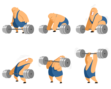 Vector illustration of a weightlifter with barbell Vectores