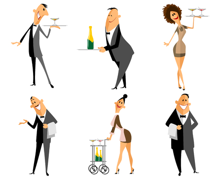 Vector illustration of a waiter and waitress set