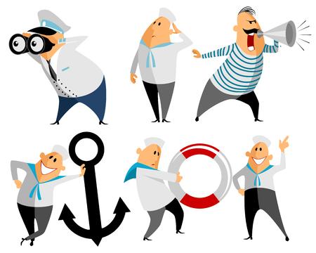 seaman: Vector illustration of a six seamen set