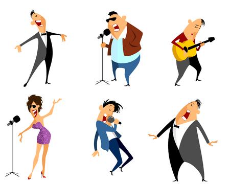pop singer: Vector illustration of a six singers set