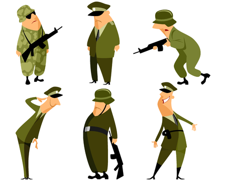 soldier with rifle: Vector illustration of a six military set