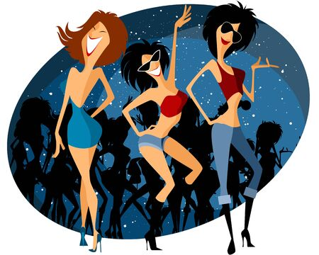 showgirl: Vector illustration of a three girls on party