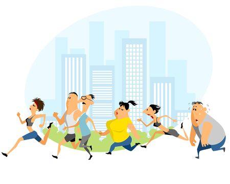 Vector illustration of a people running marathon